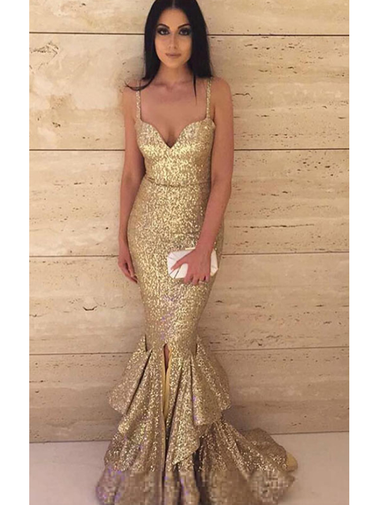 Golden Sequins Mermaid Strap Spaghetti Prom Dresses Red Carpet Fashion  Evening Dress