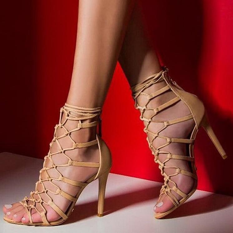 782fdfbf1297 Stiletto Heel Straps Ankle Wrap Peep-toe High Heel Sandals Q-0047 -  Thumbnail ...