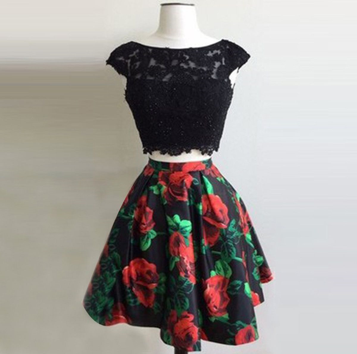 28b179a2cd Two Piece Bateau Open Back Short Black Floral Homecoming Dress with  Appliques on Storenvy