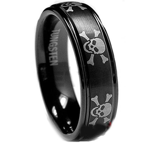 788916e66e50f COI Black Tungsten Carbide Skull Wedding Band Ring - TG1944