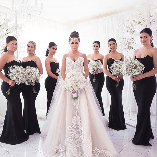 Black Bridesmaid Dresses, Unique Strapless Mermaid