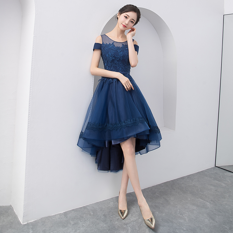 8ce1b845cf8b Dark blue lace tulle short prom dress, high low evening dress on ...