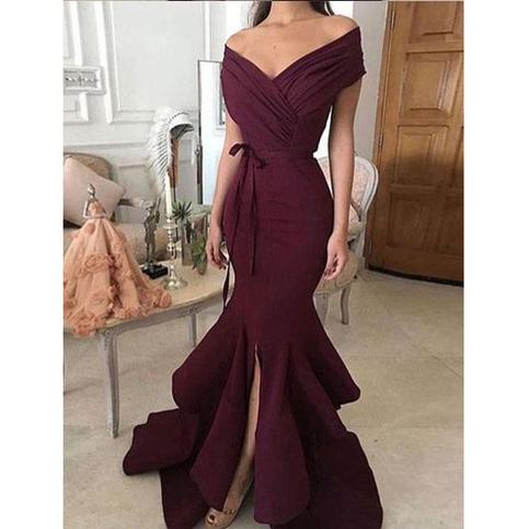 Elegant Mermaid Prom Dress Off Shoulder V Neck Floor