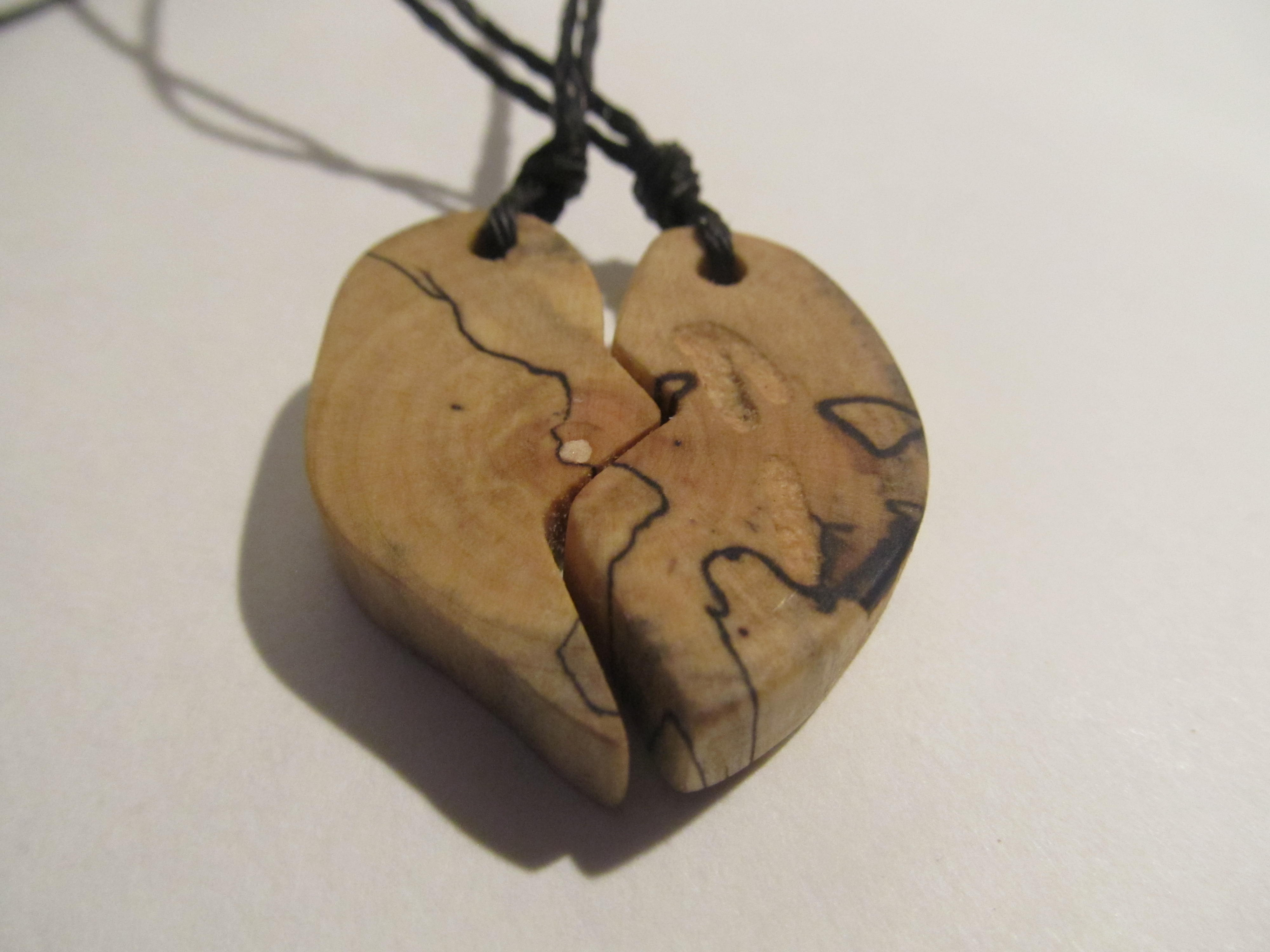 6cee9fc798551 2 BFF Necklaces, Heartbreak, Heart Pendant, Half Heart, Best Friends  Forever, Puzzle Pieces, Wooden Pieces Jewelry, Woodenist, FREE Shipping