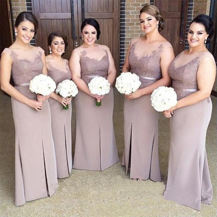 Brown Long Slit Mermaid Plus Size Lace Modest Bridesmaid Dresses , Mother  Dress ,Wedding Guest Gowns ,PD0256 sold by Romanbridal
