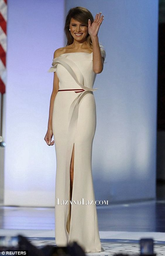 b9aa21ae1dfd Inspired by Melania Trump White Celebrity Dresses Strapless Side ...