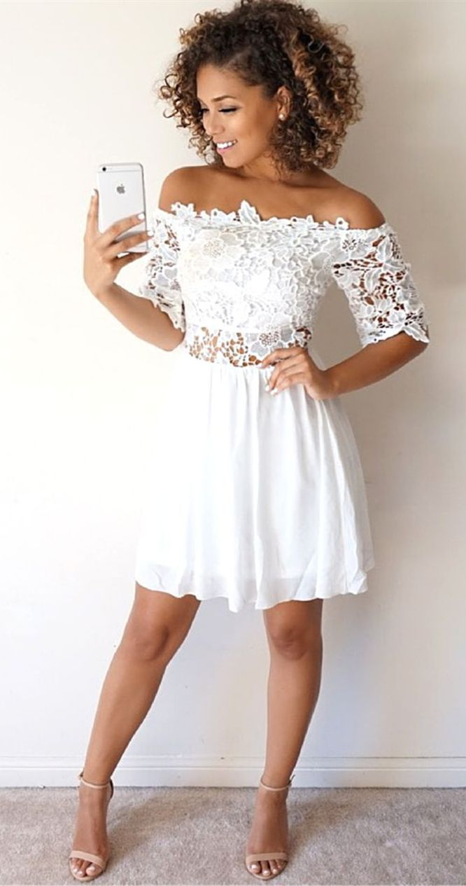 d213b06f864 Cute White Lace Homecoming Dress