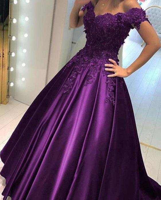 c3ca0ceff81 Purple Prom Dress Off the Shoulder Straps