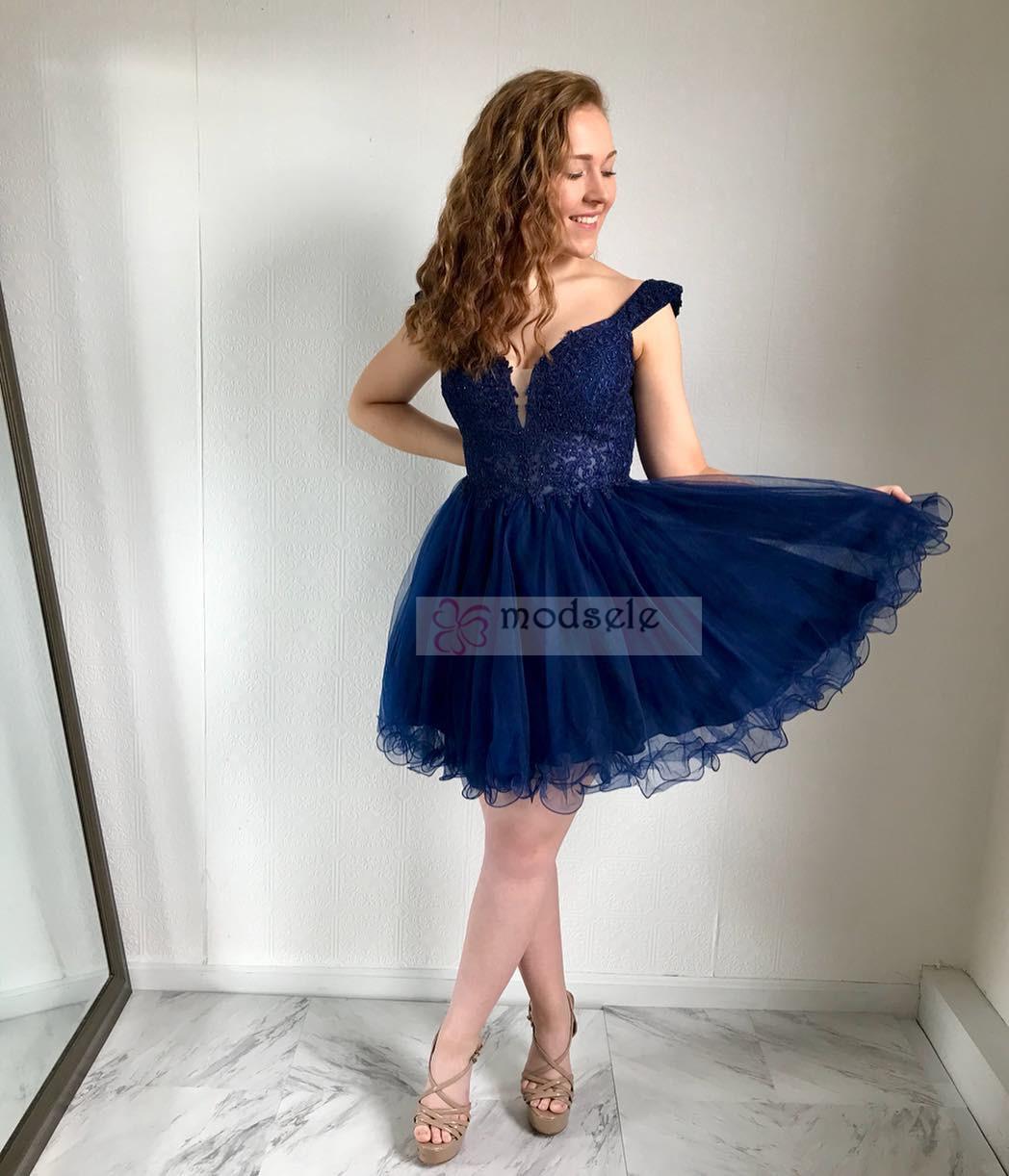 d52f3754484 Off the Shoulder Short Navy Blue Hoco Dress Dancing Dress · modsele ...