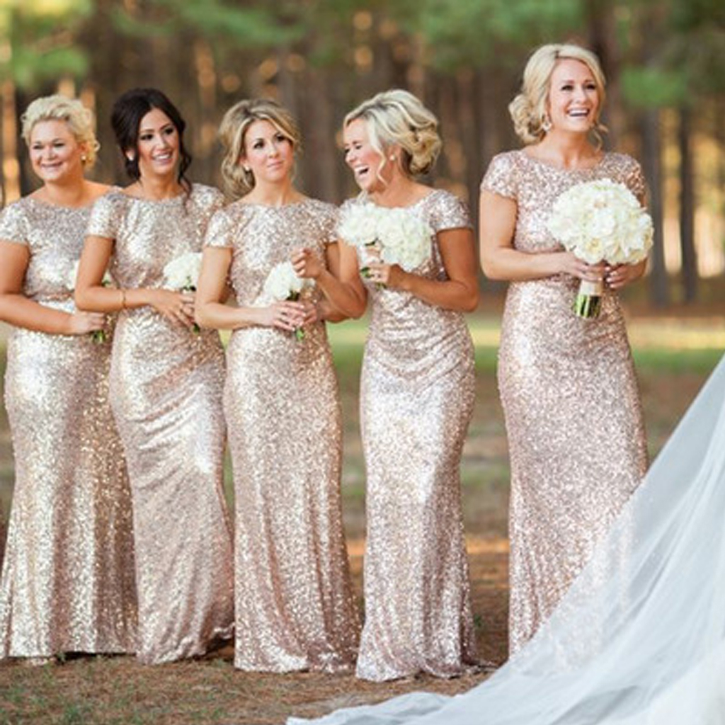 Sequin bridesmaid dresses, long bridesmaid dresses, short sleeves  bridesmaid dresses, sparkly wedding party dresses, BW0001 from Bridals Wish