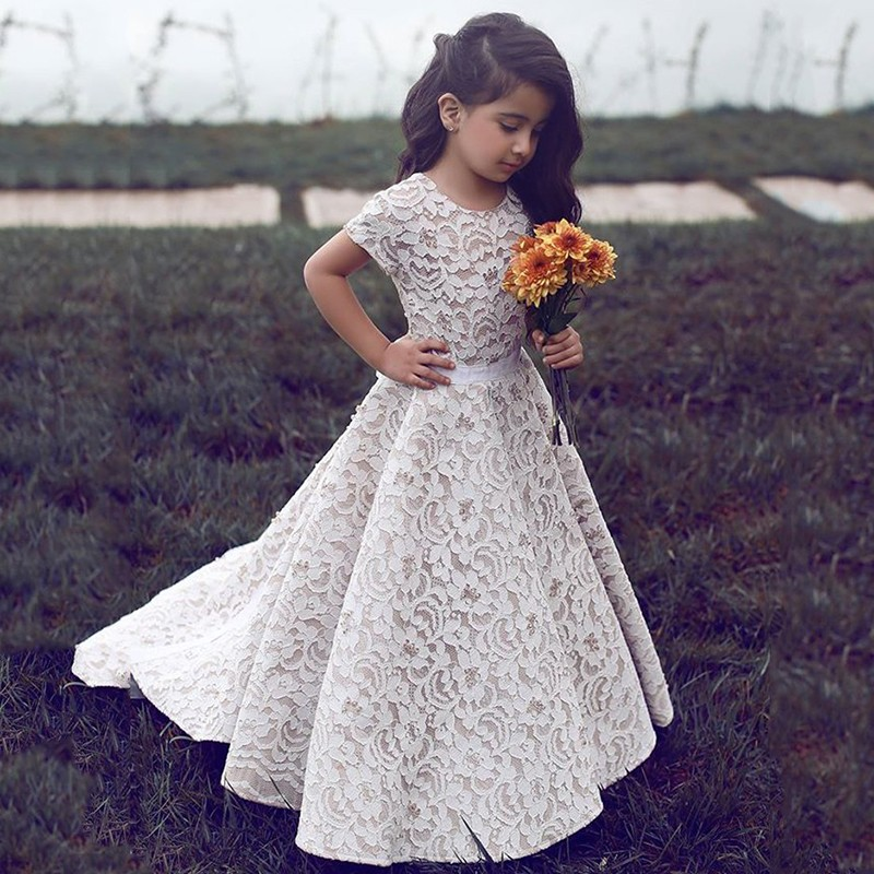 53d2341ee999b Cute Short Sleeve Ivory Lace Flower Girl Dress with Train ...
