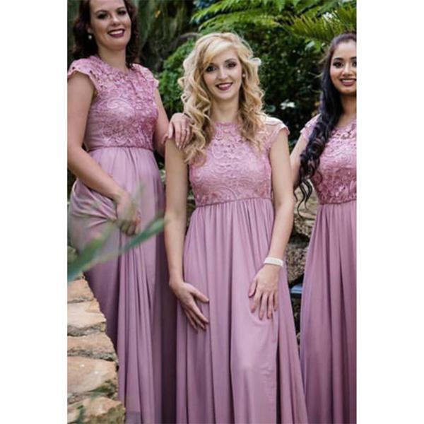 A-line Round Neck Cap Sleeves Chiffon Lace Top Long Bridesmaid Dresses 8f5473d13