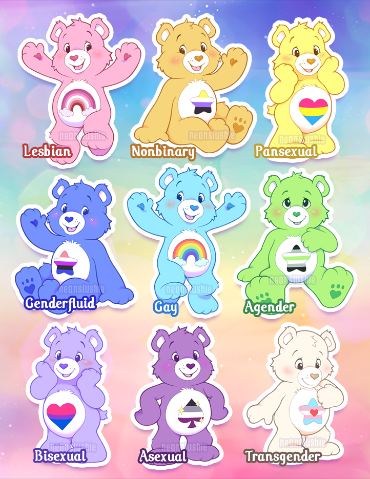 Charity Care Bears Pride Stickers · NEONSLUSHIE · Online Store ...