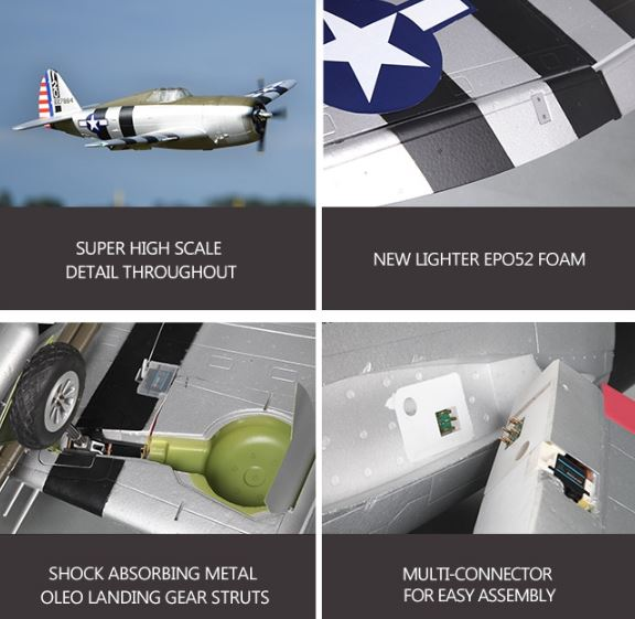 FMS RC Airplane 1500mm 1 5M P47 P-47 Razorback PNP Radio Control Scale  Gaint Big Warbird Model Plane Aircraft with Retracts LED from Drone World