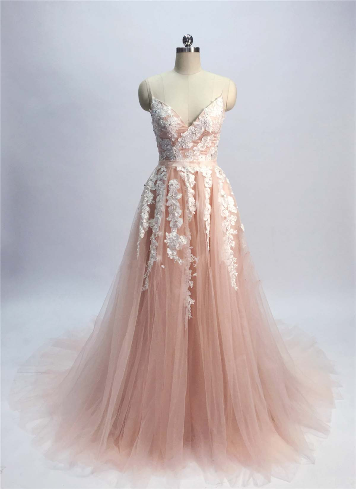 champagne pink prom dress