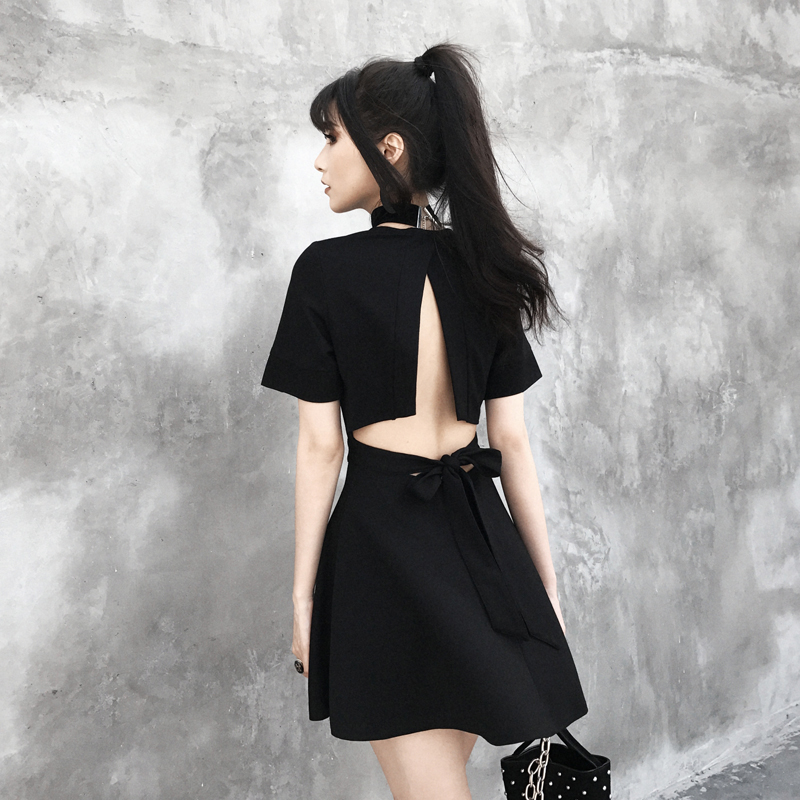 Sexy Back Black Gothic Summer Dress