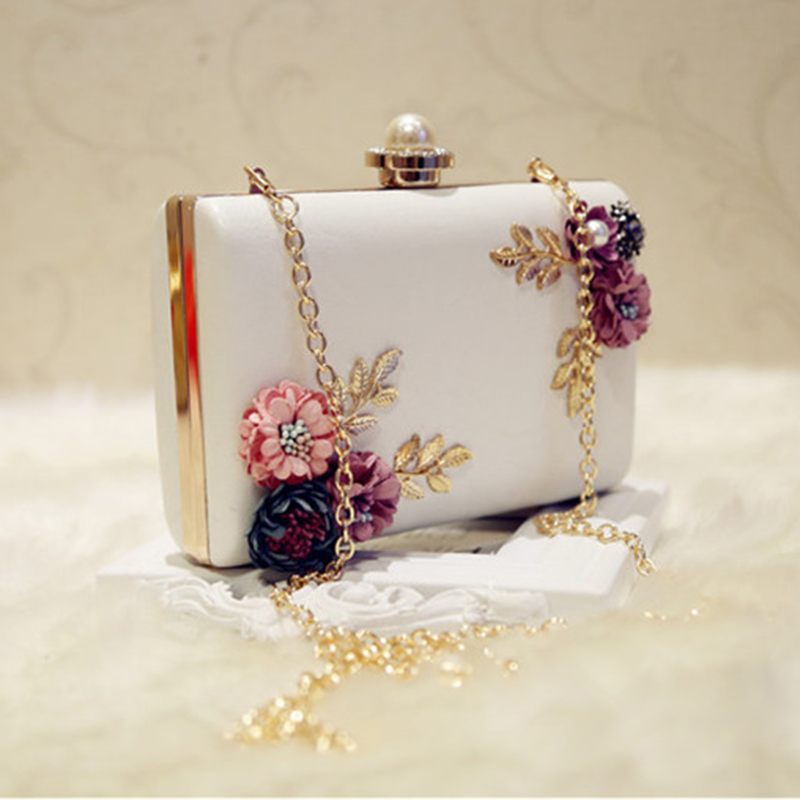 Gorgeous Leather Flowers and Pearls Women's Clutch Bag Purse (90503097) photo