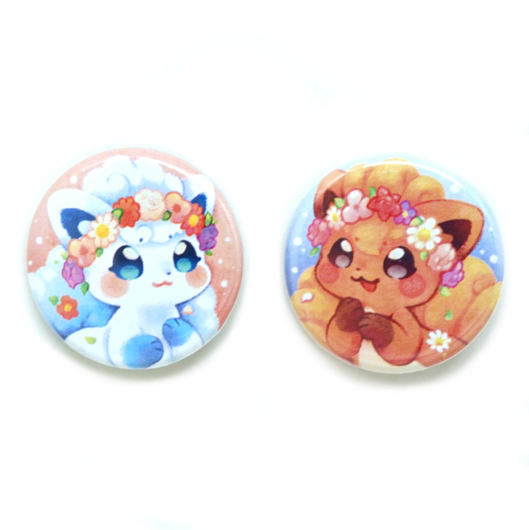 CLEARANCE SALE: originally priced 2$, now 1.50$  ----  This listing is for ONE button, please choose between Alolan Vulpix (the white one) and Kanto Vulpix (the brown one) by using the drop down menu.  Each button measures 32mm in diameter, is printed with a laser printer, then assembled with a professional button machine.