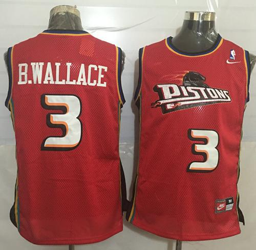 Pistons  3 Ben Wallace Red Nike Throwback Stitched NBA Jersey on ... 48c34b2b5