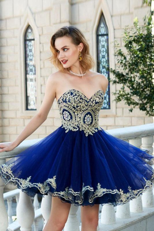 3550c0552ae Royal Blue Gold Lace Cheap Short Homecoming Dresses