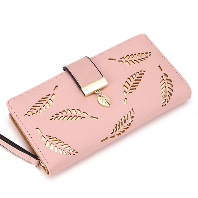 Gold Hollow Leaves  Purse Long Wallet (91183020 552677778862) photo