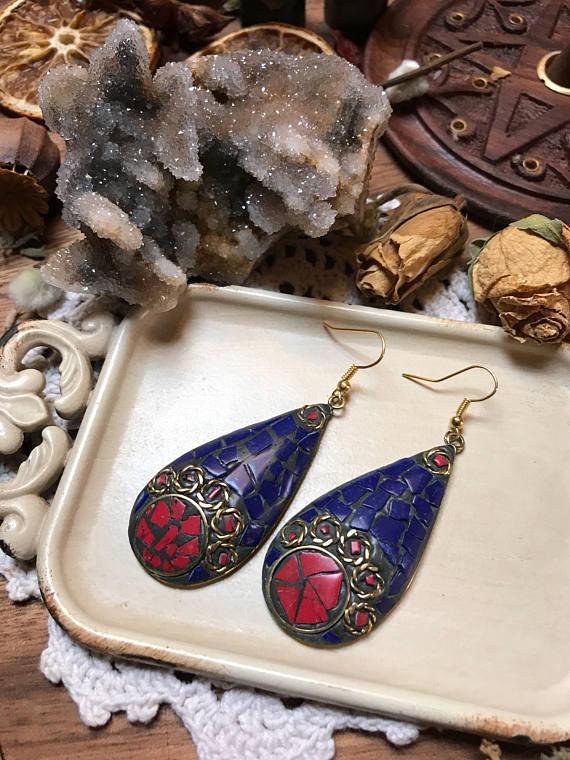 64d62c6c7 Nepalese Earrings , Tibetan Earrings , Turquoise & Coral Earrings ...