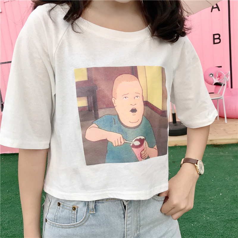 fdf60c6f67c7a Short Style Harajuku Tops Fashion Funny Printed T-shirt Casual College  O-Neck Tee New Style Confortable Women Kawaii Chic Tshirt from storecute