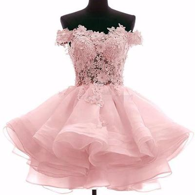 0f3263c9cd Off shoulder pink lace see through short cheap homecoming dresses 2018