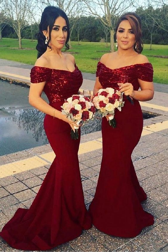 a06a9aa3c6 Burgundy Bridesmaid Dress 2018 Mermaid Long Prom Dresses Off Shoulder  Sequins Floor Length V-Neck Wedding Party Gowns from YooYooDress