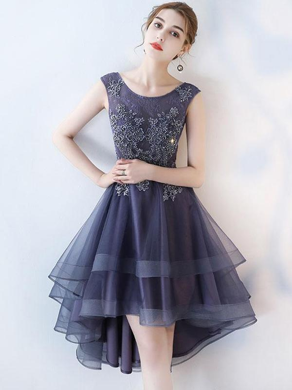 3185c8d6d2e Cheap Ruffle Scoop Navy Lace Cute Homecoming Dresses 2018