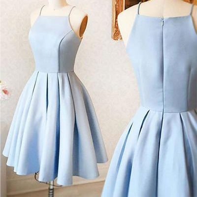 a48110866f5 Simple light blue spaghetti straps short homecoming dresses under 100
