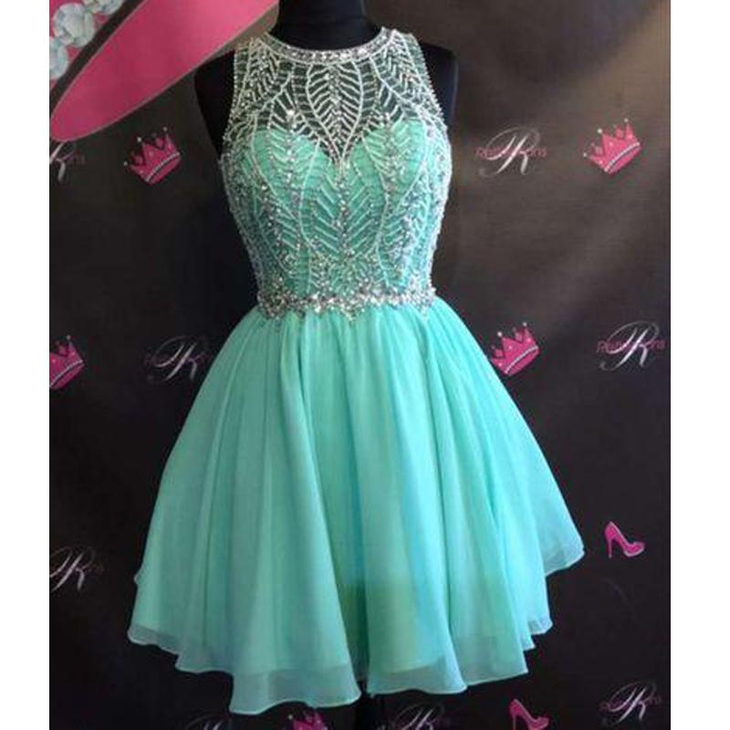 d833fad9ff Mint Green Chiffon Beaded Cute Short homecoming prom dresses