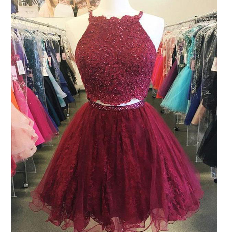 Two Piece Cheap Short Lace Beaded Dark Red Homecoming Dresses 2018