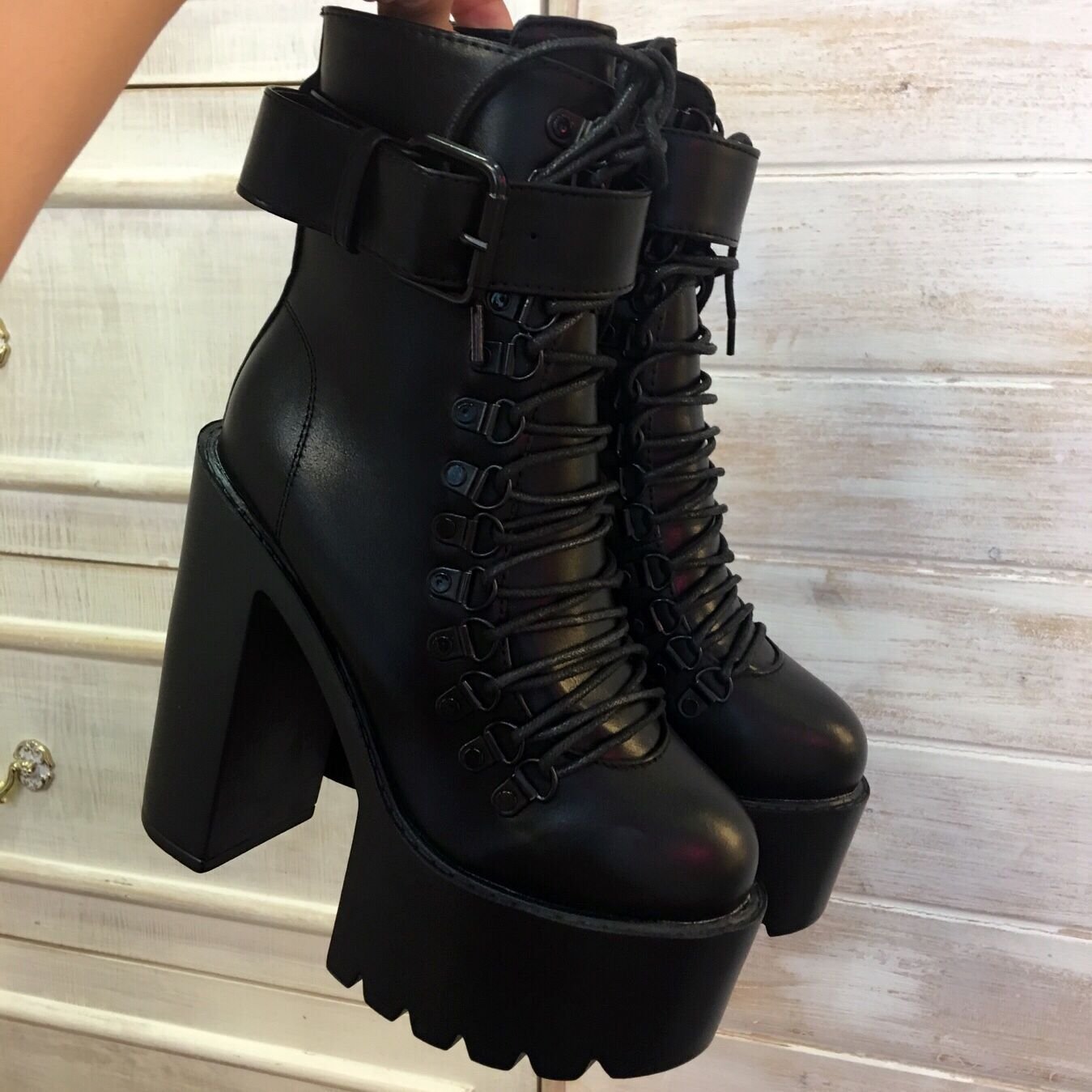 Black Square Heels Platform Boots Ankle Boots Female Lace Up Women Shoes  Fashion sold by Eoooh❣❣