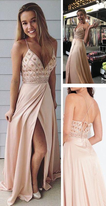 4fd9599a693 A-Line Spaghetti Straps Prom Dress