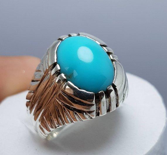 Natural Feroza Stone Rings Irani Turquoise Rings Mens