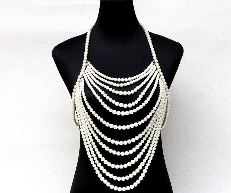 Body Chain,Layered Body Chain Bralette,Bikini Body Jewelry Body Jewelry with Pearl