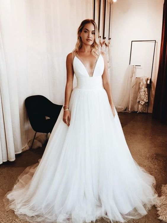 Informal Wedding Dress Simple Spaghetti Straps Chiffon Summer