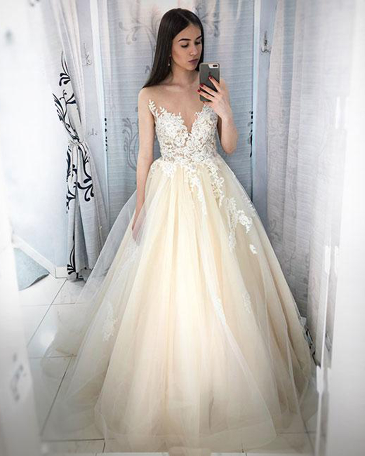Image of 2019 Light champagne tulle O neck long pageant prom dress with lace applique