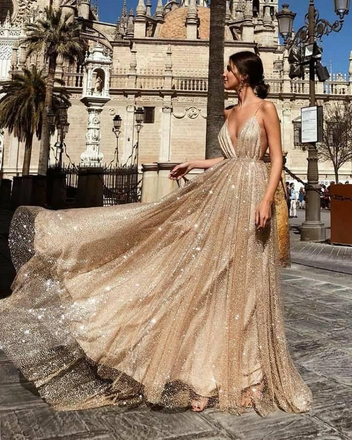 8ac1488e56c Spaghetti Sequin Tulle Prom Dresses, Champagne Gold Prom Dresses, Prom  Dresses,PD190542