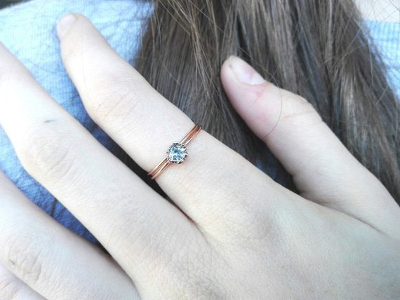 1b1cb2ed07f97 Aquamarine Engagement Ring with band, Bridal Set in 14k gold, Hexagon  shaped Gemstone ring, Anniversary gift, Unique Gift for Her from Arpelc  Jewelry