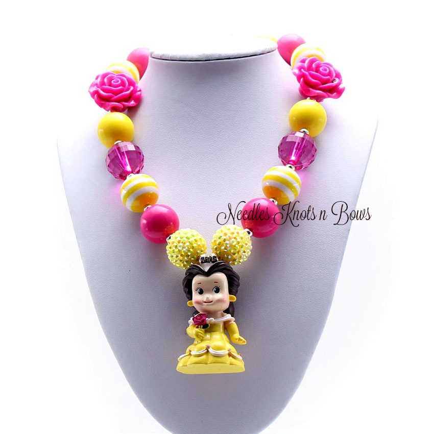 Girls Belle Inspired Chunky Bubblegum Necklace Girls Jewelry Beauty Beast Chunky Bead Necklace Princess Belle Needles Knots N Bows Online Store Powered By Storenvy