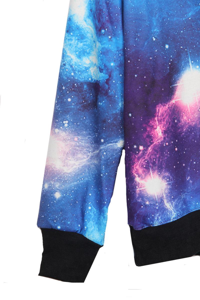 fe26797b6acfd ... Round Neck Long Sleeve Blue Pink Galaxy Print Pullover Unisex  Sweatshirt - Thumbnail 2 ...
