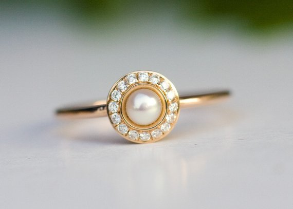 Pearl Wedding Rings.Halo Engagement Ring Pearl Ring In 14k Rose Gold Diamond Ring Engagement Ring Bridal Jewelry Pearl Wedding Ring White Pearl From Arpelc Jewelry