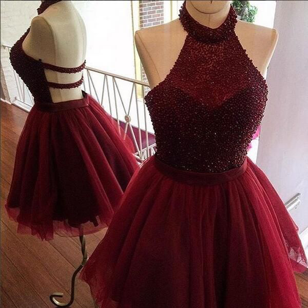 c09bc3df446 Halter Beaded Tulle Homecoming Dresses