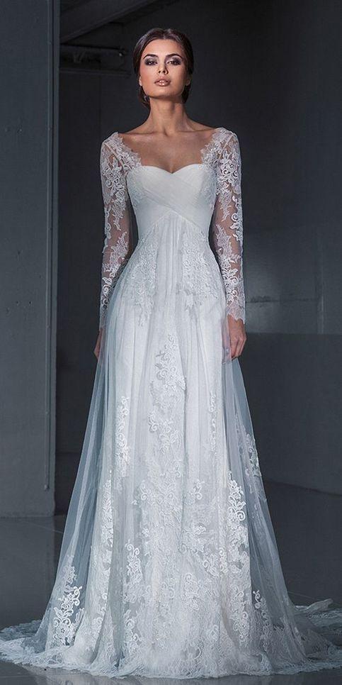 White Wedding Dress Floor Length Weeding Dress Long Sleeve