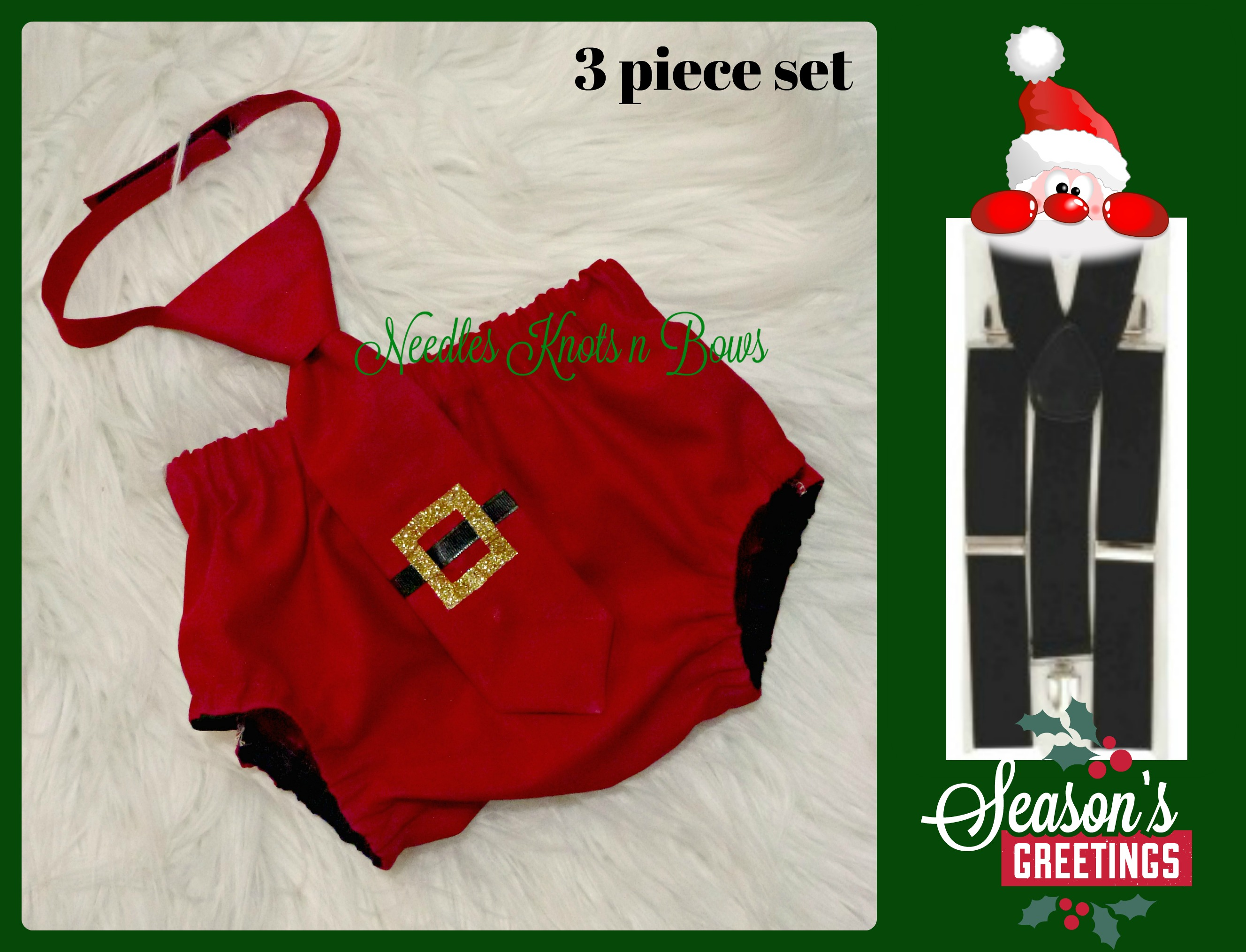 c861db0ed8242 Boys Christmas Cake Smash, Baby Boys 1st Christmas Outfit, Photo Prop,  Santa Claus Cake Smash from Needles Knots n Bows