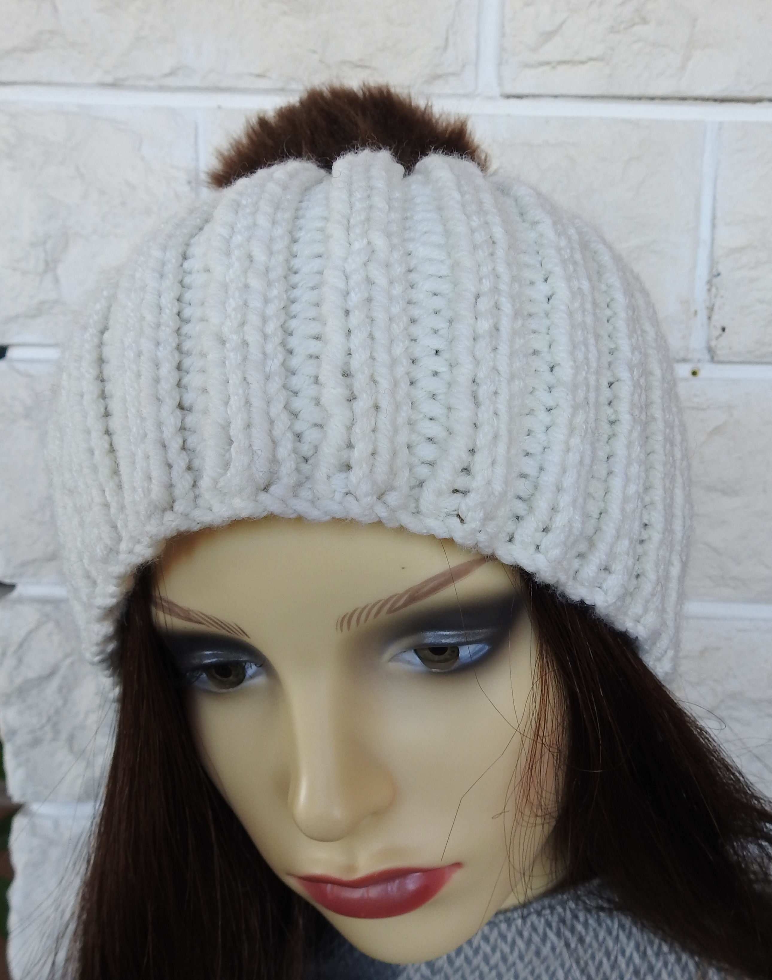 2d8a629934e8e Knitted Women s Cream Winter Hat With A Brown Pompom - FREE SHIPPING ...