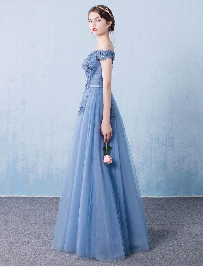 b12b13bb8e4 Elegant tulle lace applique long prom dress