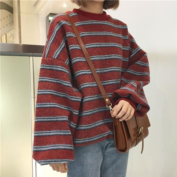 Vintage Retro Wool Knit Stripes Oversized O Neck Sweaters